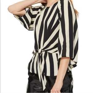 TopShop Striped Keyhole Front Tie Blouse Top